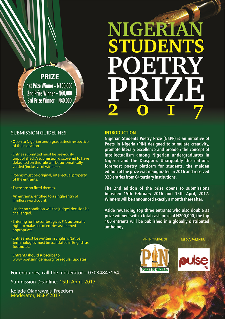 CALL FOR SUBMISSIONS: NIGERIAN STUDENTS POETRY PRIZE 2017